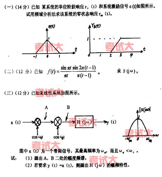 上海大学2002年考研信号与线性系统试题